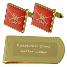 Army Soldier Gold-Tone Cufflinks Money Clip Engraved Gift Set