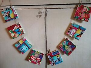WOODEN BUNTING SQUARE GARLAND MADE WITH PIP STUDIO DESIGN  RETRO VINTAGE KITCHEN