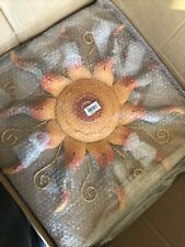 Southwest Sun Wall Art Metal Sunburst Sculpture Hanging Decor Indoor Outdoor 22""