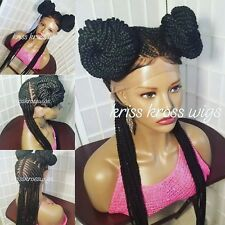 FULL LACE Wig /French braid 2 Buns ...human hair base