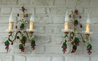 PAIR vintage 190 italian wall lights murano  grape glass fruit drops sconces