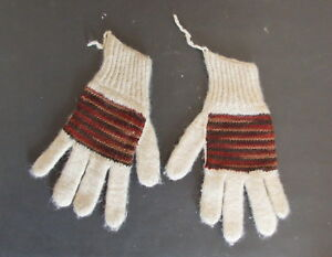 "GLOVES – Womens Handmade 100% Llama Wool Peru 1989 Size: L 19cm/7.5"" - UNWORN"