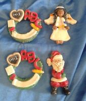 Christmas Ornaments Clay Dough Lot of 4 Santa Angel Wreath Vintage New Old Stock