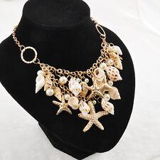 Woman Fashion Chunky Gold Tone Sea Shell Starfish Pearl Bib Statement Necklace