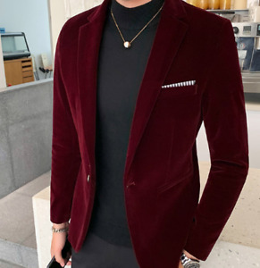 Mens Wedding Coat Slim Fit Size Plus One Button Velvet Blazer V-Neck Soild Color