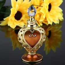 Vintage Coffee Gold Heart Shaped Metal Crystal Refillable Empty Perfume Bottle