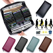 RFID Blocking Mens/Womens Cow Genuine Leather Credit ID Card Holder Long Wallet
