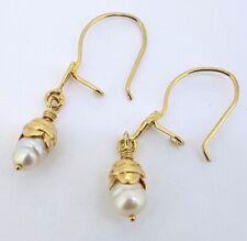 9k Fresh Water PEARL Earrings_European Hook Clasps_375 yellow gold