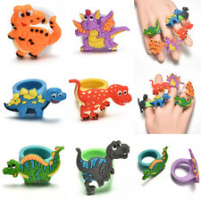 Cartoon Dinosaur Modeling PVC Ring Soft Rubber Finger Ring Random Kids Gift JT