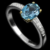 Sterling Silver 925 London Blue Topaz Solitaire Two Tone Ring Size P.5 (US 8)