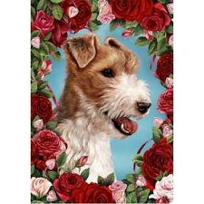 Roses House Flag - Wire Fox Terrier 19067