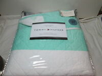 Tommy Hilfiger CABANA STRIPE Twin/Twin XL Quilt Set ~ Light Teal and White NEW