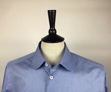 Men's Round-collar, Double-cuff Blue Chambray Shirt (60's Mod Style) - SIZE M