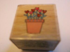 "Flowerpot of Hearts Nina Sevin 2012 Hampton Art 1"" x 1"" Rubber Stamp 21ST166"