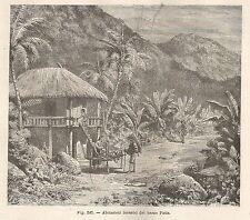 A5694 Abitazioni del basso Patia - Xilografia - Stampa Antica 1895 - Engraving