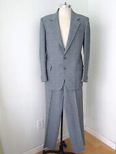 Vgc Vtg 70s Blue Red Plaid Poly Disco Pimp Vegas 2-Pc Suit Flat Wide Leg Pant 42