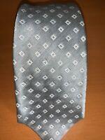 Recent Kiton Naopli Grey with White Geometric Designed Silk Tie Made in Italy