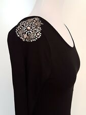 ASOS Black Knit Backless Dress with Beading Detail Size UK 10 NWT
