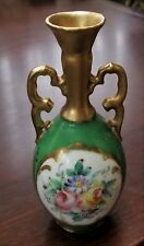 Limoges France Porcelain Bud Vase Decor Main Hand Painted Green Gold Floral 5½""