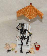 "Halloween Dollhouse Miniature Skeleton ""Burnt Guy-White wood chair""-Artist-OOAK"