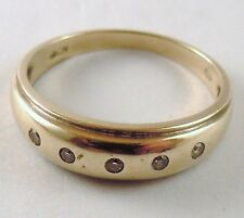 100% Genuine Vintage 9ct. Yellow Gold and 5 Natural Diamonds Eternity Band Ring.