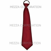 New formal men's pre-tied ready knot necktie polyester solid wedding burgundy