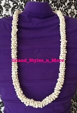 Hawaii Wedding MONGO Shell Kukui Nut Lei Necklace Jewelry Graduation Luau WHITE