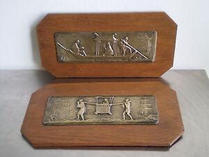 2 PLAQUES DECORATIVE BRONZE DORE CHINE ART D'ASIE ORIENT ANCIEN XIX°s TABLEAU