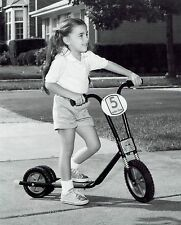 1983 Original Photo by RADIO FLYER cute girl child rides motocross scooter