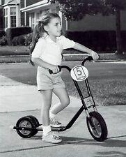 1983 Original Photo by RADIO FLYER cute girl child rides motocross scooter bike