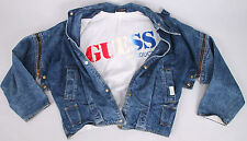 RARE 1980s GUESS Georges Marciano NEW WAVE Zipper Sleeve VEST Jean Jacket M RaRe