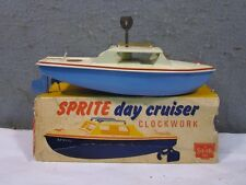 1960's TOY Sutcliffe Tin Windup Sprite Day Cruiser Boat WITH ORIGINAL BOX & KEY