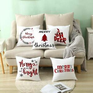 Christmas Cushion Cover Pillow Case Merry Christmas Decorations Home Xmas Noel*