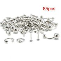 USA 85Pcs/Lot Body Piercing Jewelry Eyebrow Navel Belly Lip Tongue Nose Bar Ring