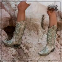 Corral Ladies White w/Teal Glitter Inlay & Crystals Snip Toe Boots A3321 - SALE!