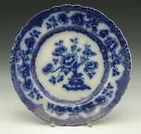 "ALBERT JONES STAFFORDSHIRE FLOW BLUE PEKIN CHOP PLATE 11.3/4"" c.1909"