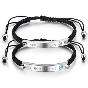 2pcs Couples Polished Stainless Steel CZ Custom Leather Bracelet Free Engraving