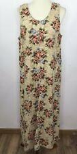 Vintage Jane Ashley Overall Jumper Dress Floral Linen Blend Prairie Sleeveless M