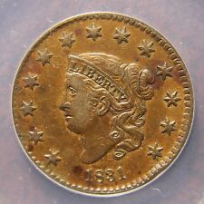 1831 Coronet Head Large Cent, N-3, Small Reverse Letters, XF-40