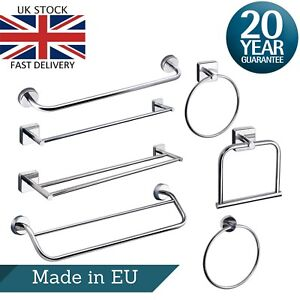 Towel Rail & Ring Wall Mounted Stainless Steel Double Single Square Round Bath
