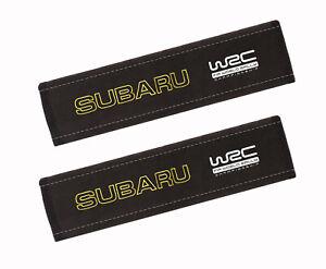 Subaru WRC Car Seat Belt Shoulder Pads Covers Embroidery Logo, 2 Pcs, Alcantara