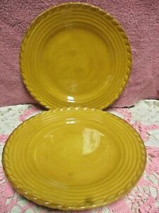 "Artimino Tuscan Countryside Yellow Dinner Plates 11 3/8 "" Embossed Set 2 New Tag"