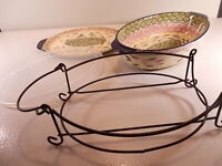 NEW Temp-Tations 2-1/2 Quart Dish With Lid/Tray Lid-It Wire Rack Old World Style
