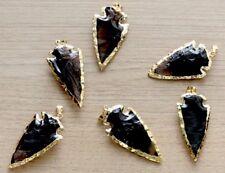 Black Obsidian Arrowhead Pendant Gold Plated Arrowhead Gemstone Pendant. One.