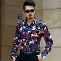 Luxury Camisa Hombres High Quality Floral Print Mens Casual Shirts Business Plus