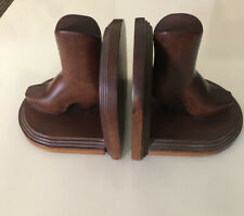Vintage Wooden Book Ends Cowboy Boots