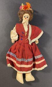 "Primitive Doll European Handmade Folk Art Cloth Sawdust in Native Dress 11"""