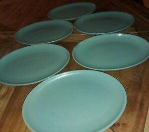 Denby Manor Green Oval Plates small serving fish plates Set Of 6