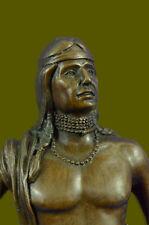 Art Deco Western Indian Male Warrior Bronze Sculpture Marble Statue Figurine LRG