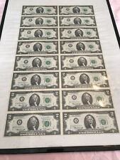 Uncut Sheet of 16 1976 Star Note Series legal $2 Dollar Bills Framed 18by 24